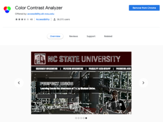 screenshot of Color Contrast Analyzer Chrome plugin